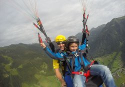 Tandem paragliding with children